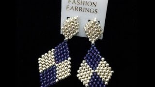 Learn how to make diamond shaped earrings using brickstitch pattern