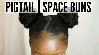 Pigtail|Space Buns On Short 4C Natural Hair