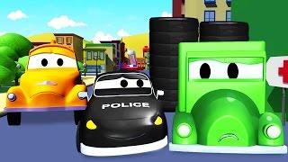 La Super Patrulla: camión de bomberos 🚒 y patrulla de policía 🚓 y El ladrón de ruedas en Auto City