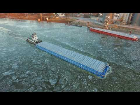Barge in the icy Kaskaskia River in Evansville, Illinois.