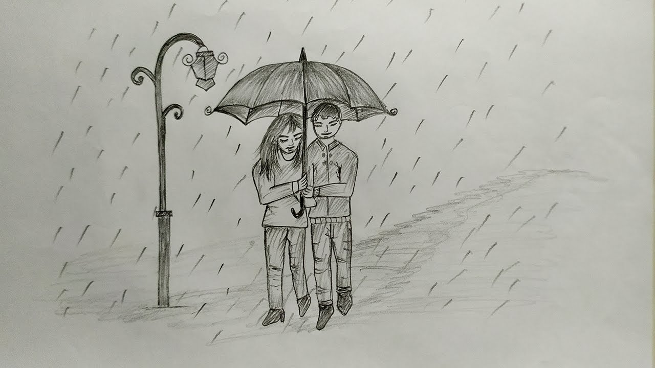 How to draw a couple under umbrella in a rainy day pencil sketch