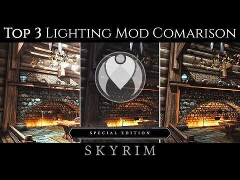 top 3 most popular lighting mods comparison skyrim se ultra enb
