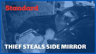 Thief caught on camera stealing side mirror of a parked car alleged to be in South B