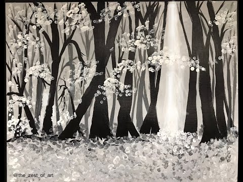 Black and white landscape | Forest Scene | easy acrylic painting techniques for beginners