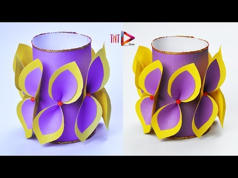 Making Paper Flower Vase Easy Idea | DIY Awesome Paper Flowers Pot At Home | DIY Simple Paper Craft