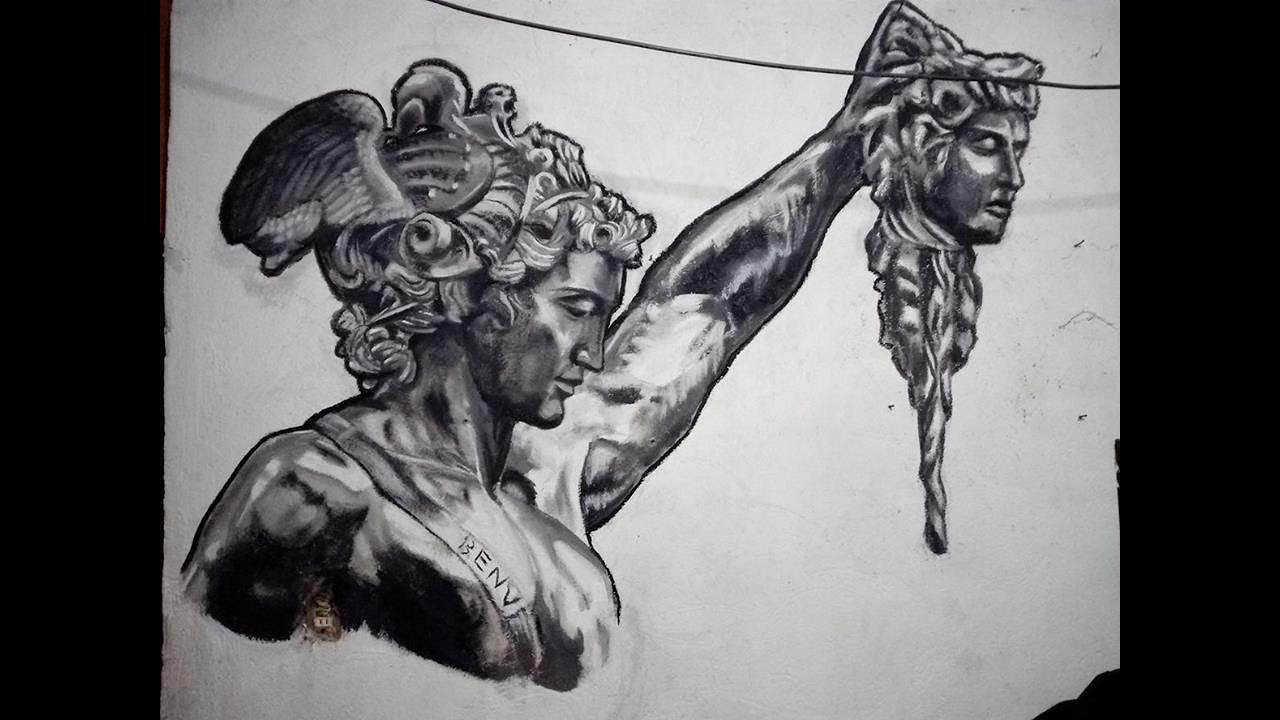 Perseus With The Head Of Medusa Mural Time Lapse By Levy
