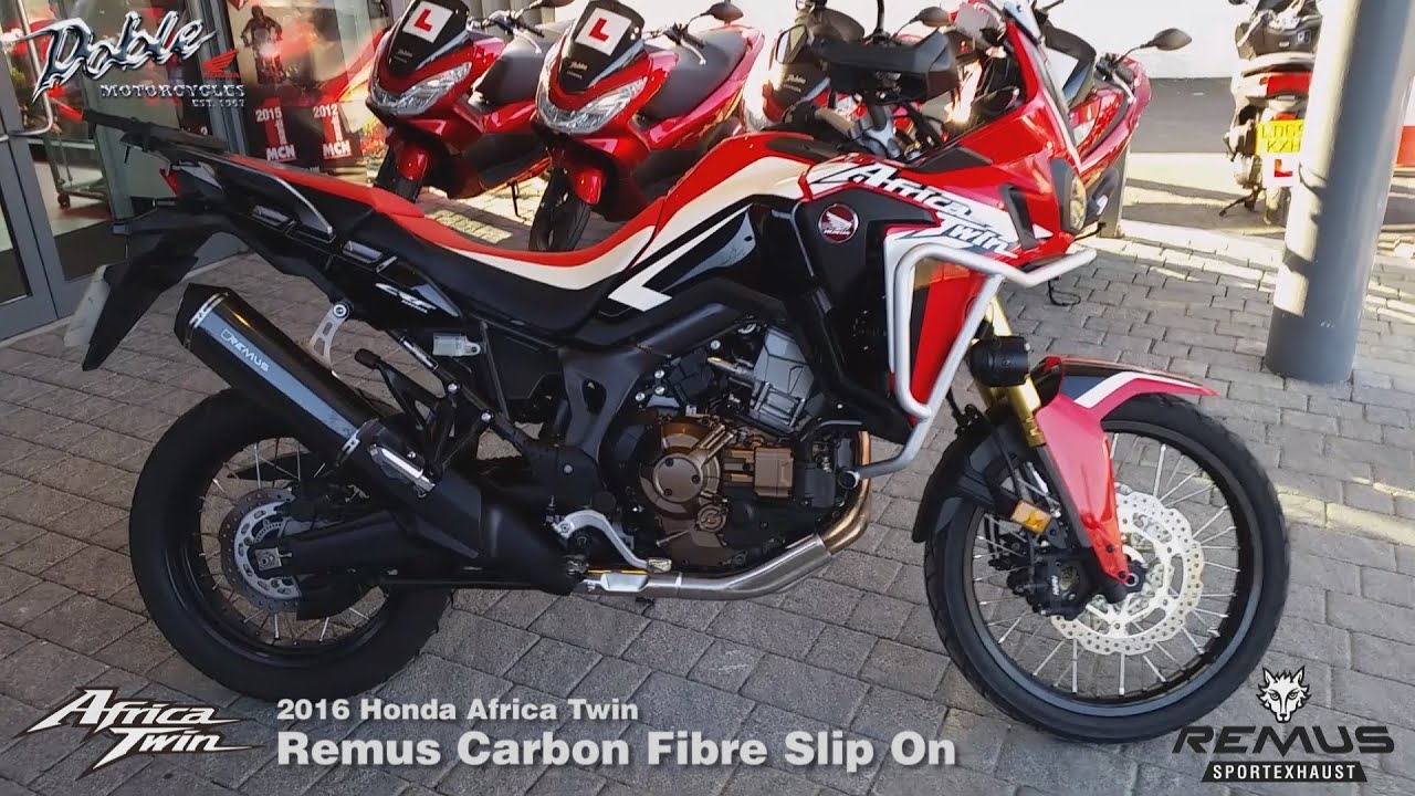 2016 honda crf1000l africa twin remus okami carbon exhaust youtube. Black Bedroom Furniture Sets. Home Design Ideas