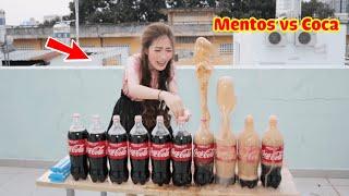 Bỏ kẹo Mentos vào nước ngọt siêu to khổng lồ - EXPERIMENT Mentos and Coca Cola with Meena !