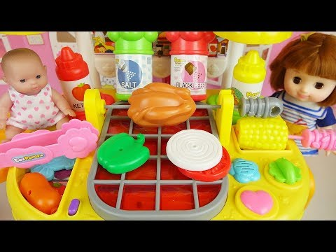 Thumbnail: Baby doll and grill kitchen food cooking toys play