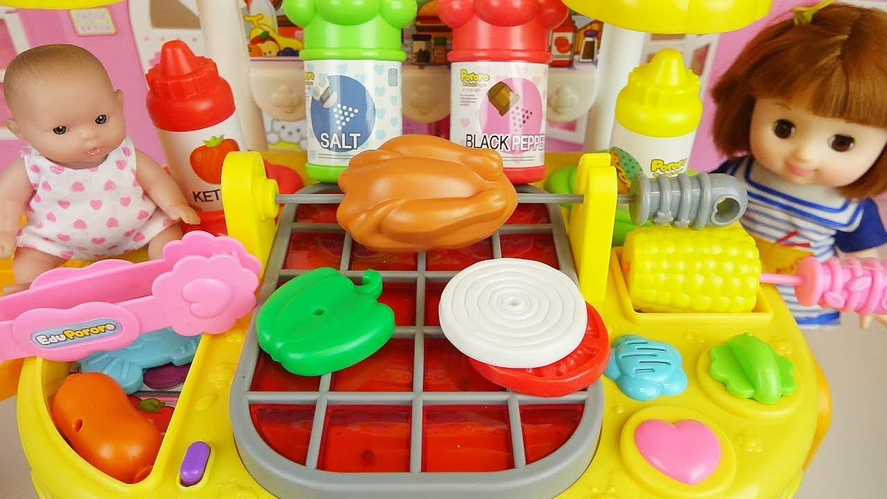 Baby Doll And Grill Kitchen Food Cooking Toys Play Youtube