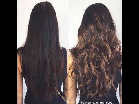Балаяж на темные волосы фото