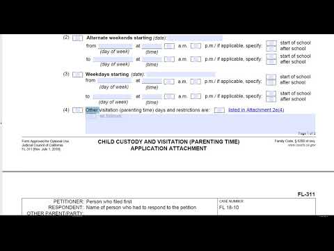 FL-311, Child Custody and Visitation Application Attachment