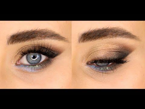 Макияж кошачий глаз с пигментами для голубых глаз.