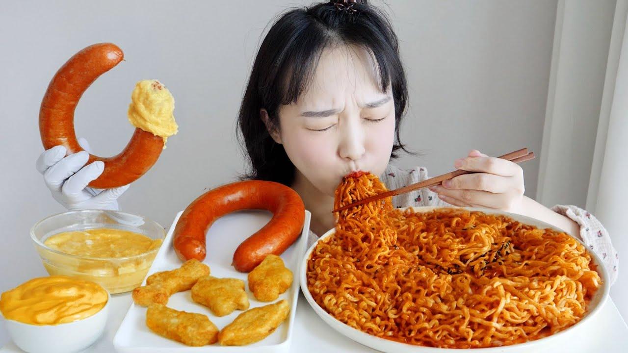 ?불닭볶음면 킬바사소세지 먹방 + 연유치즈 _ 불닭이 너무너무너무 먹고싶었어요... :D