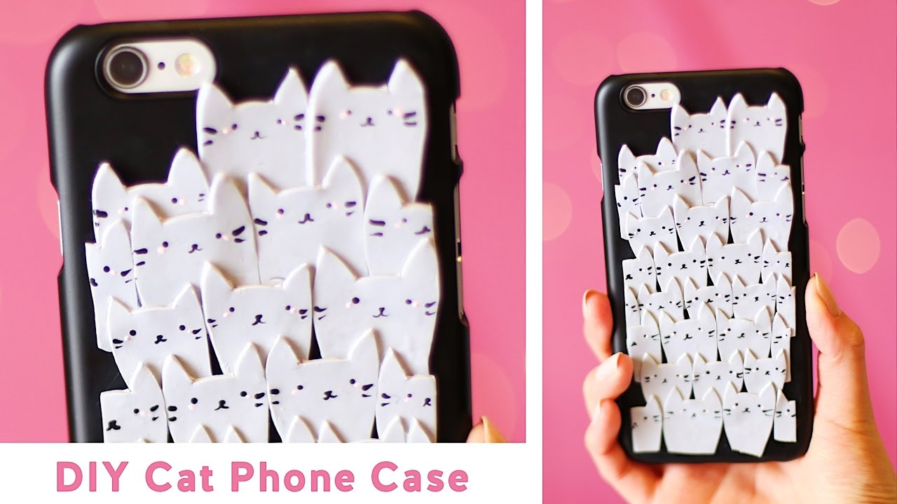 Diy pile of cats phone case polymer clay tutorial youtube for How to make a homemade phone case