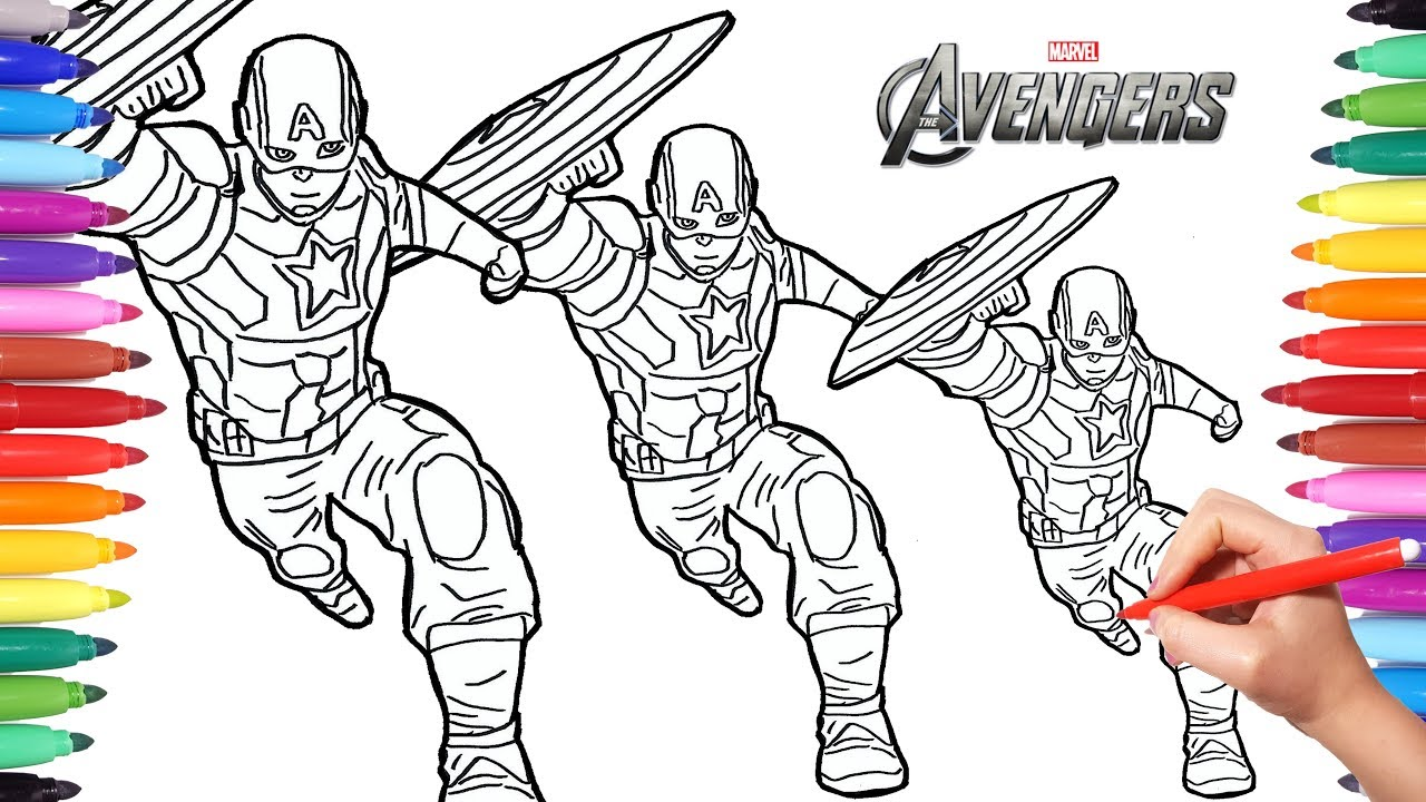 how to draw captain america drawing and painting captain america marvel avengers coloring pages