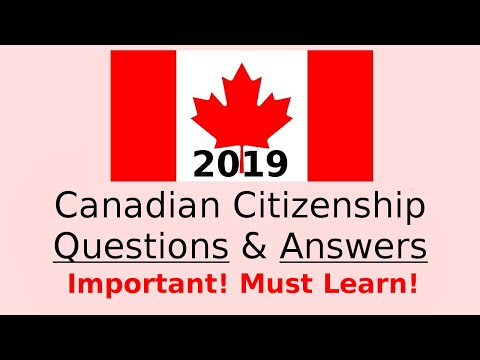 Canadian Citizenship Exam Sample 2018 Question Answer