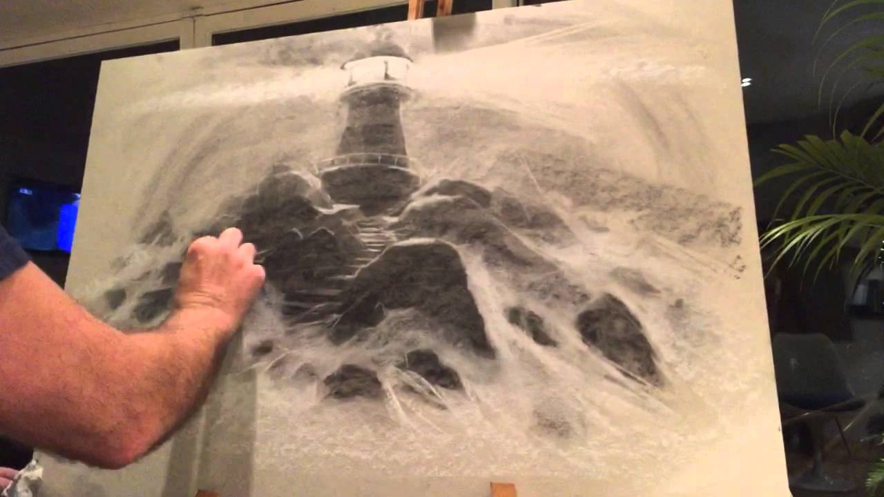 pj lynch drawing a dramatic light house scene in charcoal