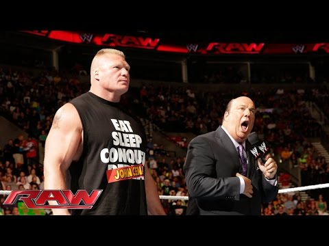 Paul Heyman vows Brock Lesnar will give John Cena a beating at SummerSlam: Raw, Aug. 11, 2014