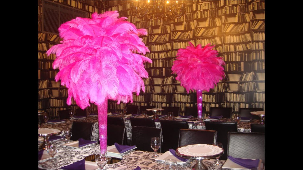 Hot Pink Fuchsia Ostrich Feather Centerpieces At Xo Creperie Brooklyn Ny