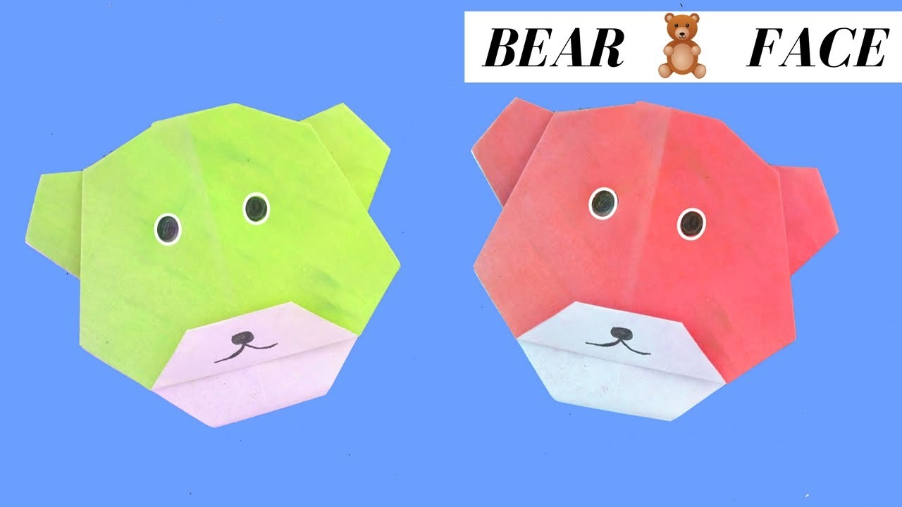 How to make origami Bear face| Paper Tips| Bear Face make ...