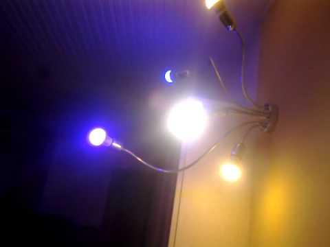 lampadario led : effetto luce a led per il lampadario di casa - YouTube