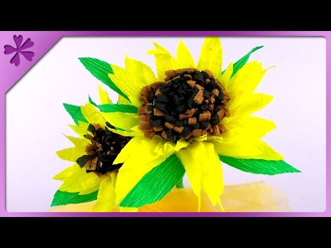 DIY Tissue paper sunflowers (ENG Subtitles) - Speed up #96