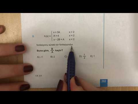 345 AYT Matematik Limit-Süreklilik Ösym-1 Anlatımlı Çözümleri (2018-2019 Basım)