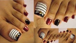 Pedicure Con Negro,blanco /uñas De Los Pies Decoradas,toe Nail Fall Design