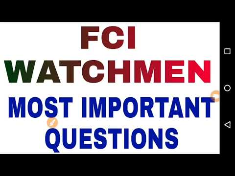 FCI WATCHMAN EXAM QUESTIONS || PUNJAB FCI EXAM QUESTIONS