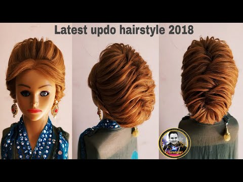 Western party wear updo hairstyle 2018/ latest updo hairstyle with gawon/ hairstyle for short hair