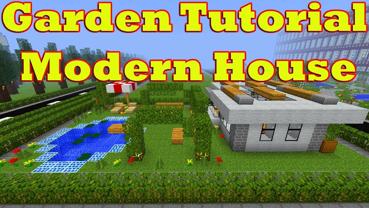 Minecraft garden tutorial of modern house number 16 fully for Modern house 6 part 2