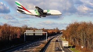 AIRBUS A380 LOW LANDING above the STREET - Watch out for crossing AIRBUS A380`s  (4K)