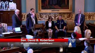 Sen. Dave Robertson special tribute for Michigan State Trooper Chad Wolf