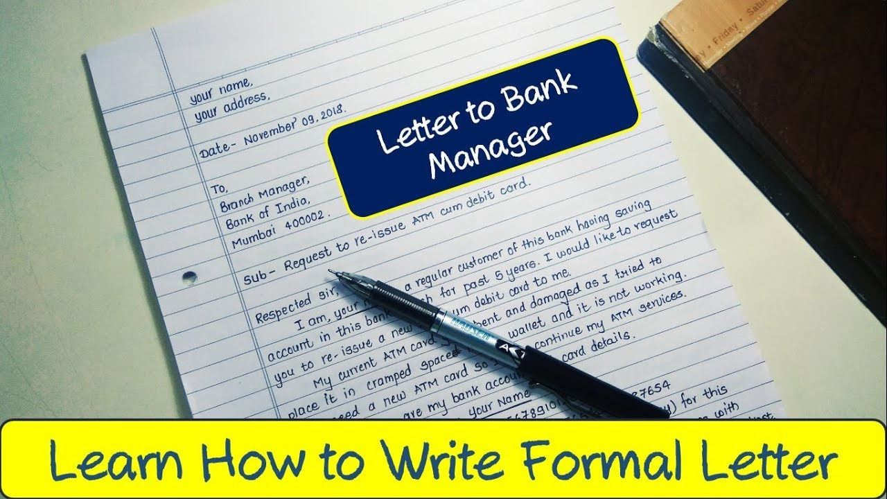 How to write application to bank manager in English  Formal letter to bank  manager for new ATM card