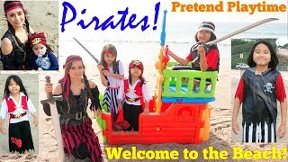 Pirates Pretend Playtime at the Beach! A Pirate Ship Playhouse. Pirates of the Caribbean Playtime