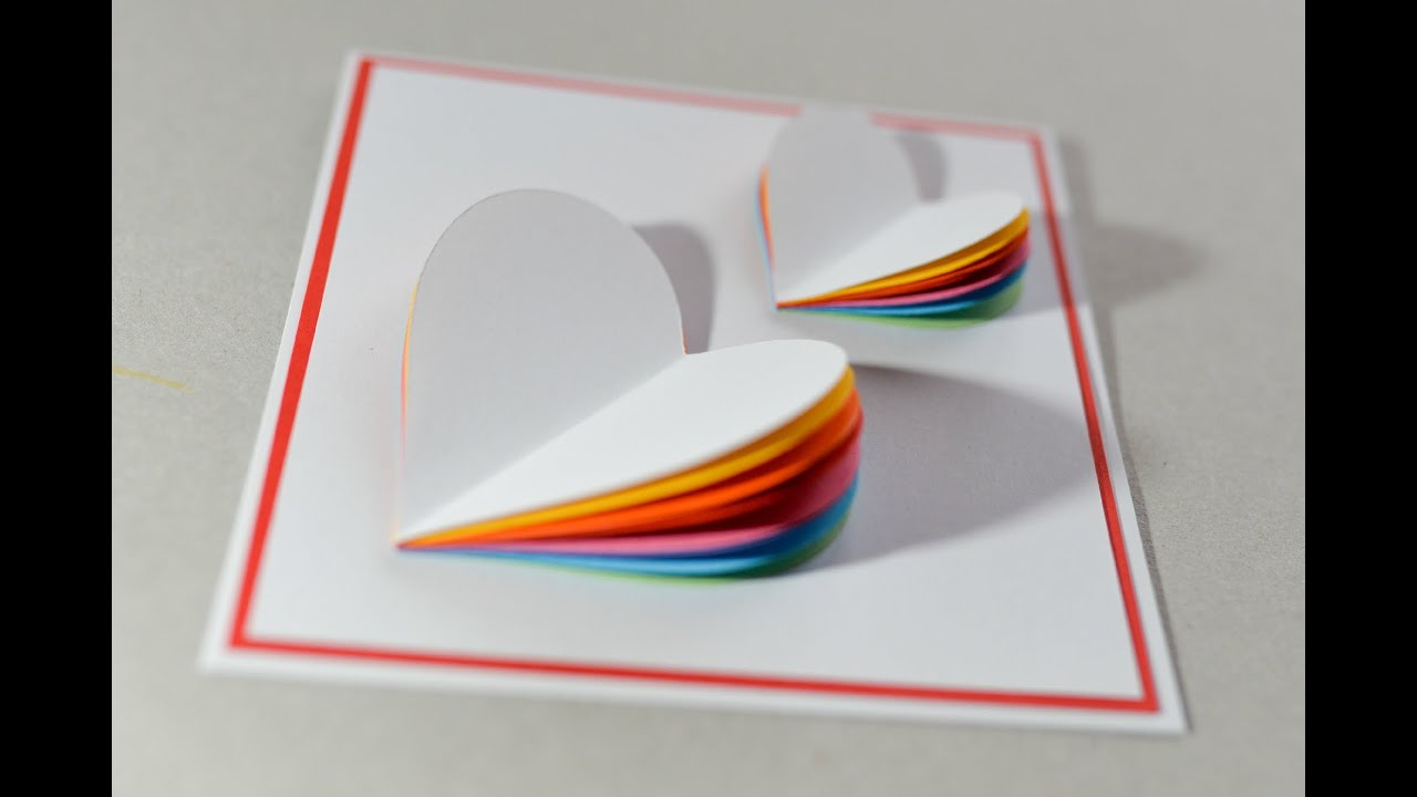 How to Make Valentines Day Card Rainbow Heart Greeting Card – Create Valentine Cards