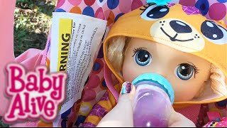 Baby Alive Baby Go Bye Bye Doll Outing with Joovy Toy Car Seat Feeding Diaper Change Zoe Bike Wreck