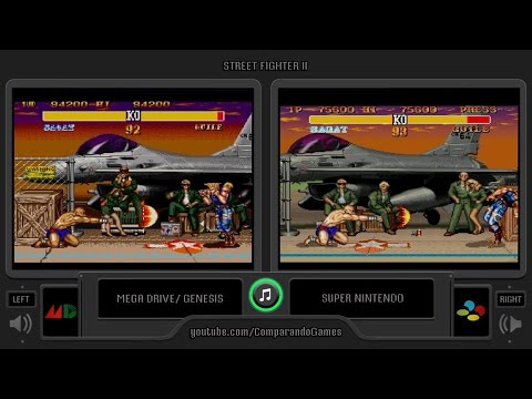 Street Fighter II Turbo (Sega Genesis vs SNES) Side by Side Comparison