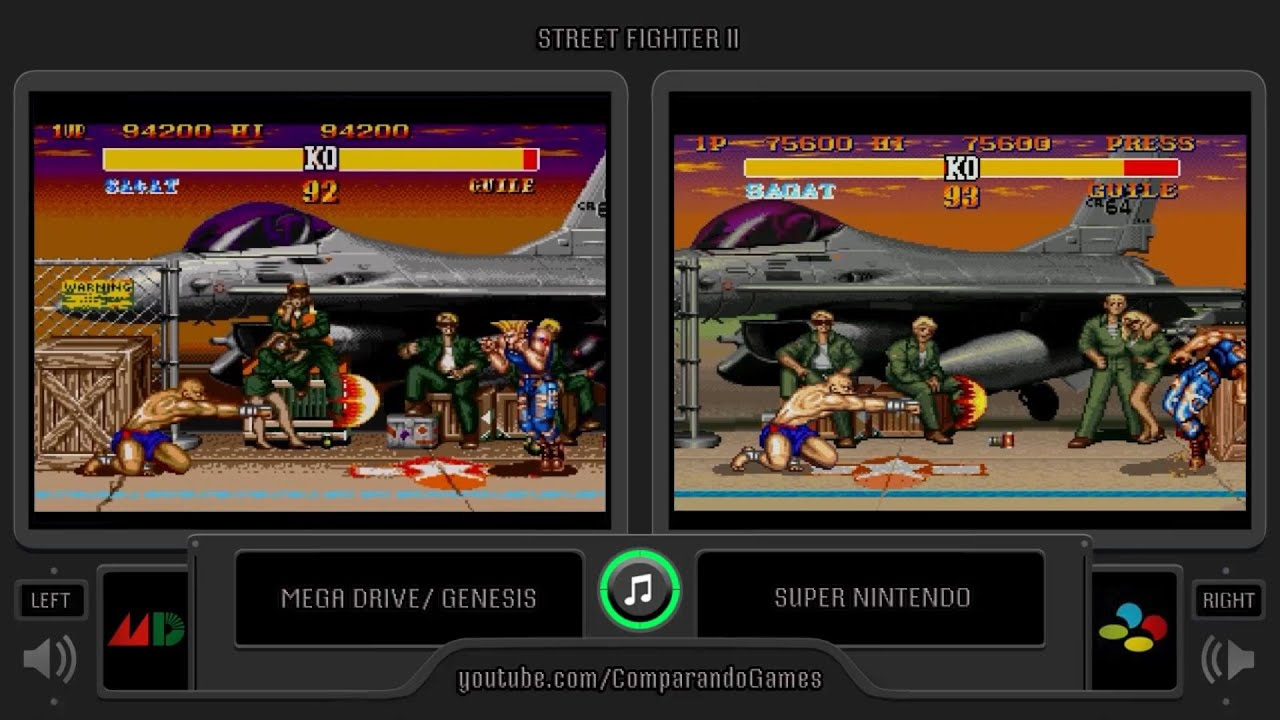 Street Fighter Ii Turbo Sega Genesis Vs Snes Side By Side Comparison Youtube