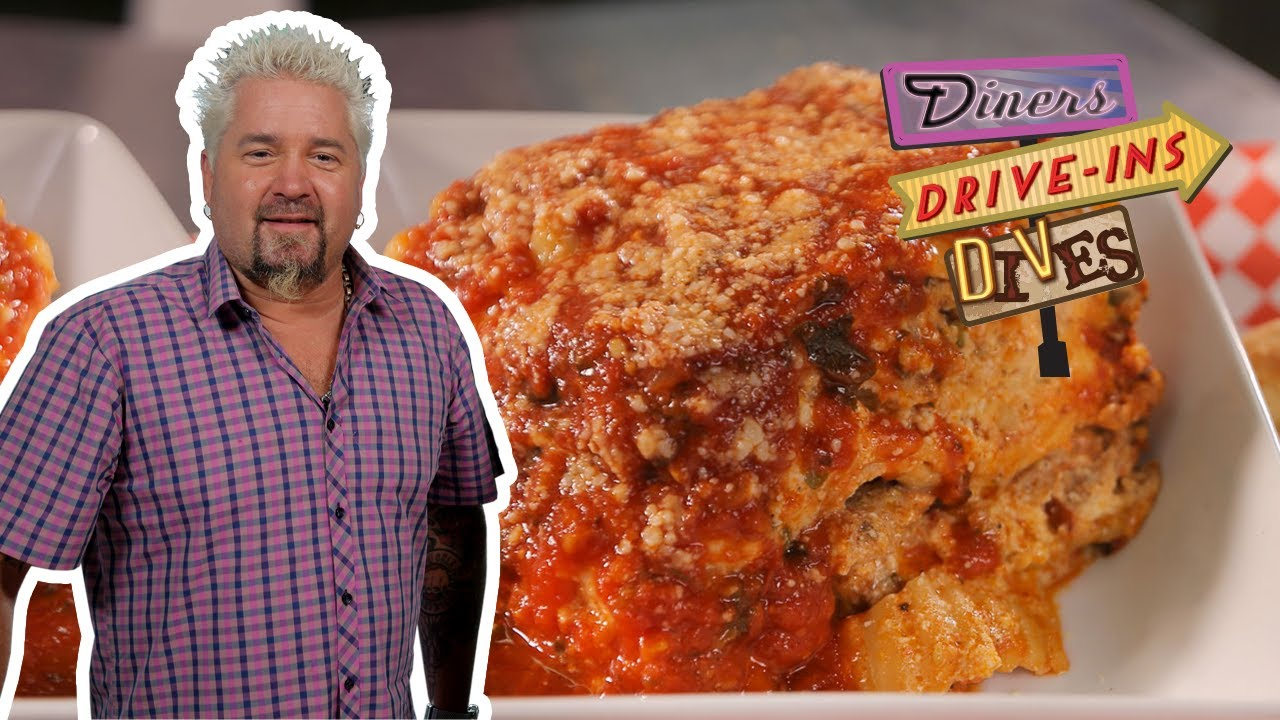Guy Fieri Eats JUMBO Lasagna on #DDD | Food Network