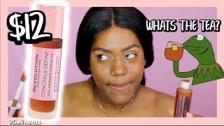 Makeup Revolution Conceal & Define Full Coverage Foundation | dark skin girl