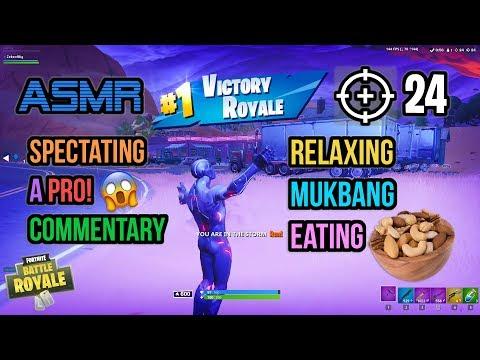 ASMR Gaming | Fortnite Pro 24 Kills Mukbang Eating Crunchy Nuts 먹방 🎮🎧 Relaxing Whispering😴💤