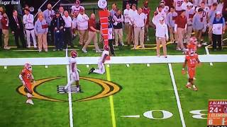Nick Saban gets run over on the sidelines by Jalen Hurts