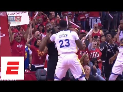 Draymond Green catches James Harden on the throat, gets technical foul just 1:07 into Game 1   ESPN