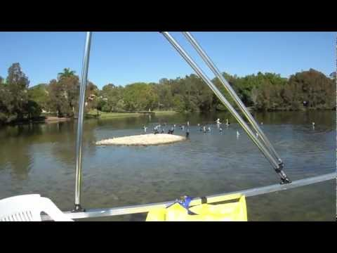 Green Powered Pontoon Boat Powered by low cost 55Ib i.Force Marine Trolling Tiller motor