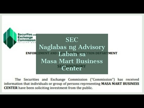 SEC Naglabas ng Advisory Laban sa Masa Mart Business Center