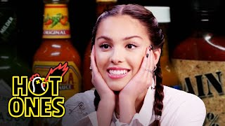 Olivia Rodrigo Burns Her Lips While Eating Spicy Wings | Hot Ones