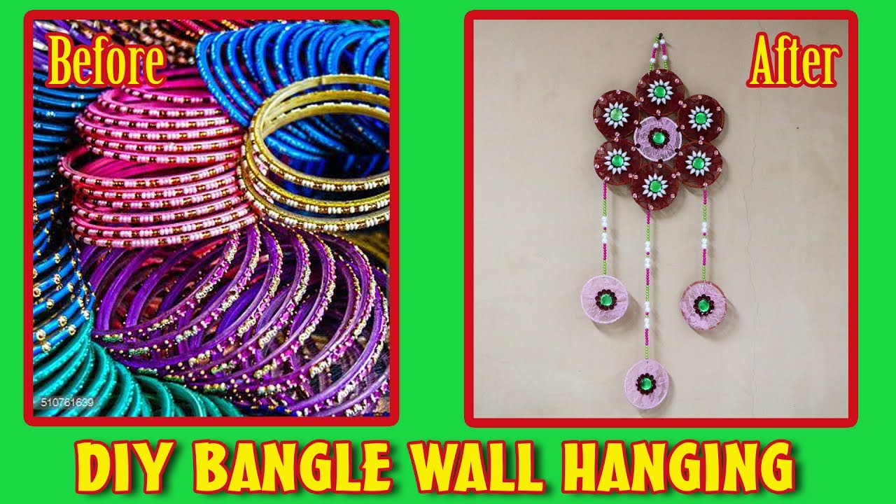 Wall hanging from waste old bangles best out of waste for Waste out of best from bangles
