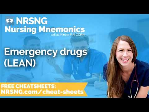 Emergency drugs LEAN Nursing Mnemonics, Nursing School Study Tips